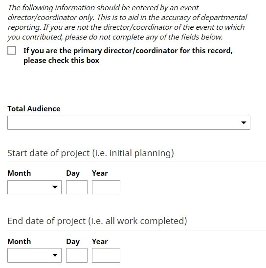 Entry screens for dates for one performance with multiple authors